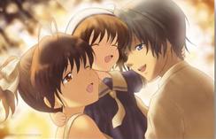 Tomoya and Nagisa hugging Ushio
