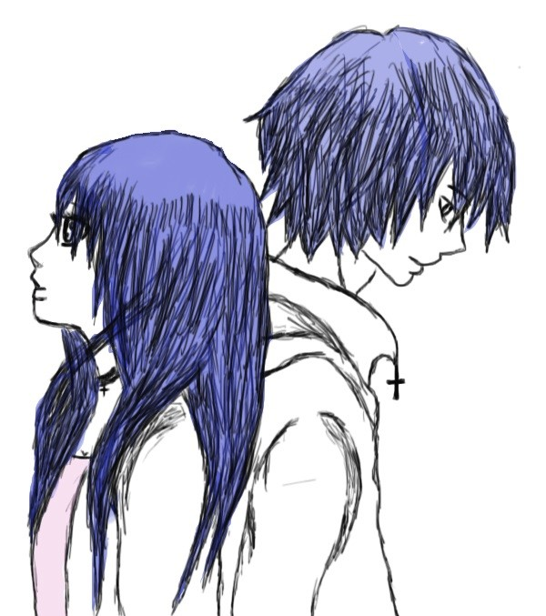 blue haired boy and a girl standing