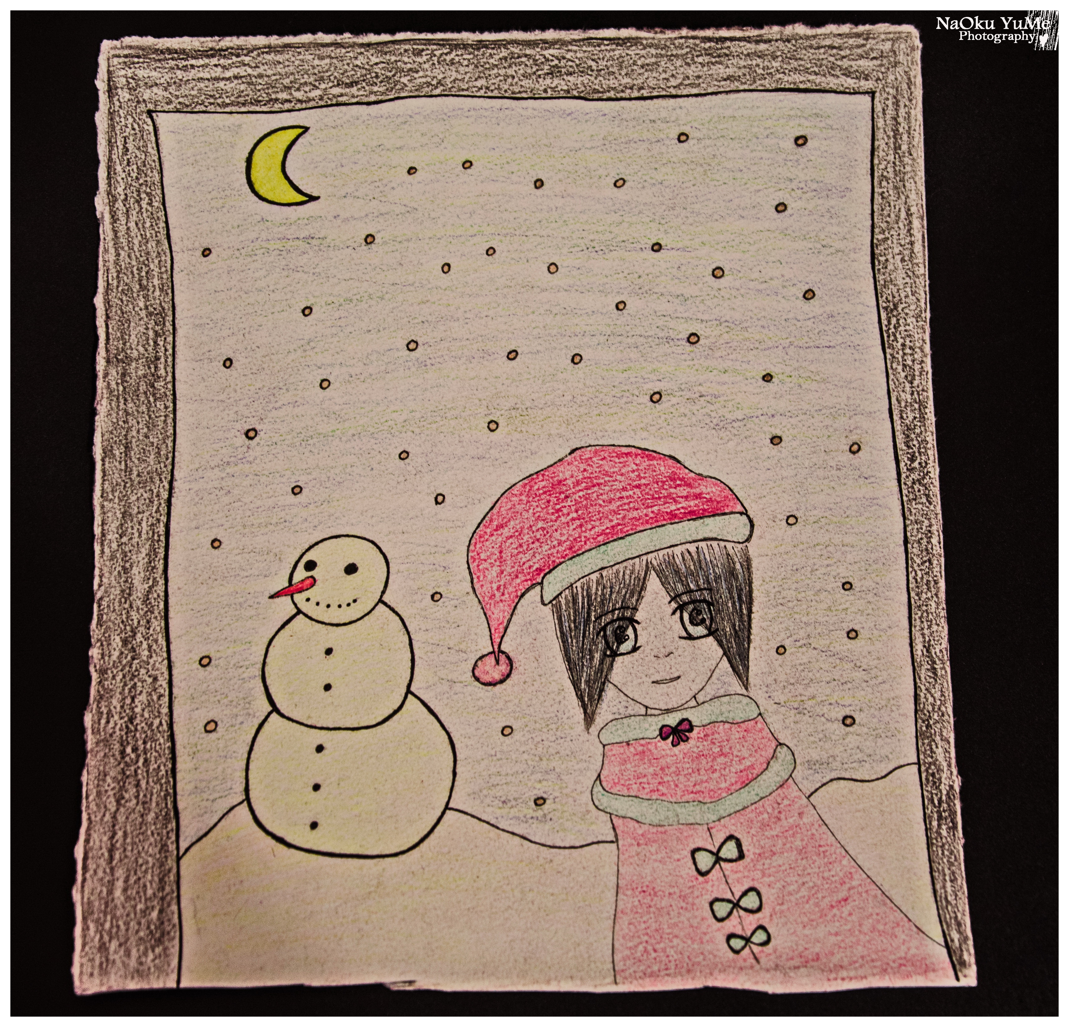 A girl and a snowman