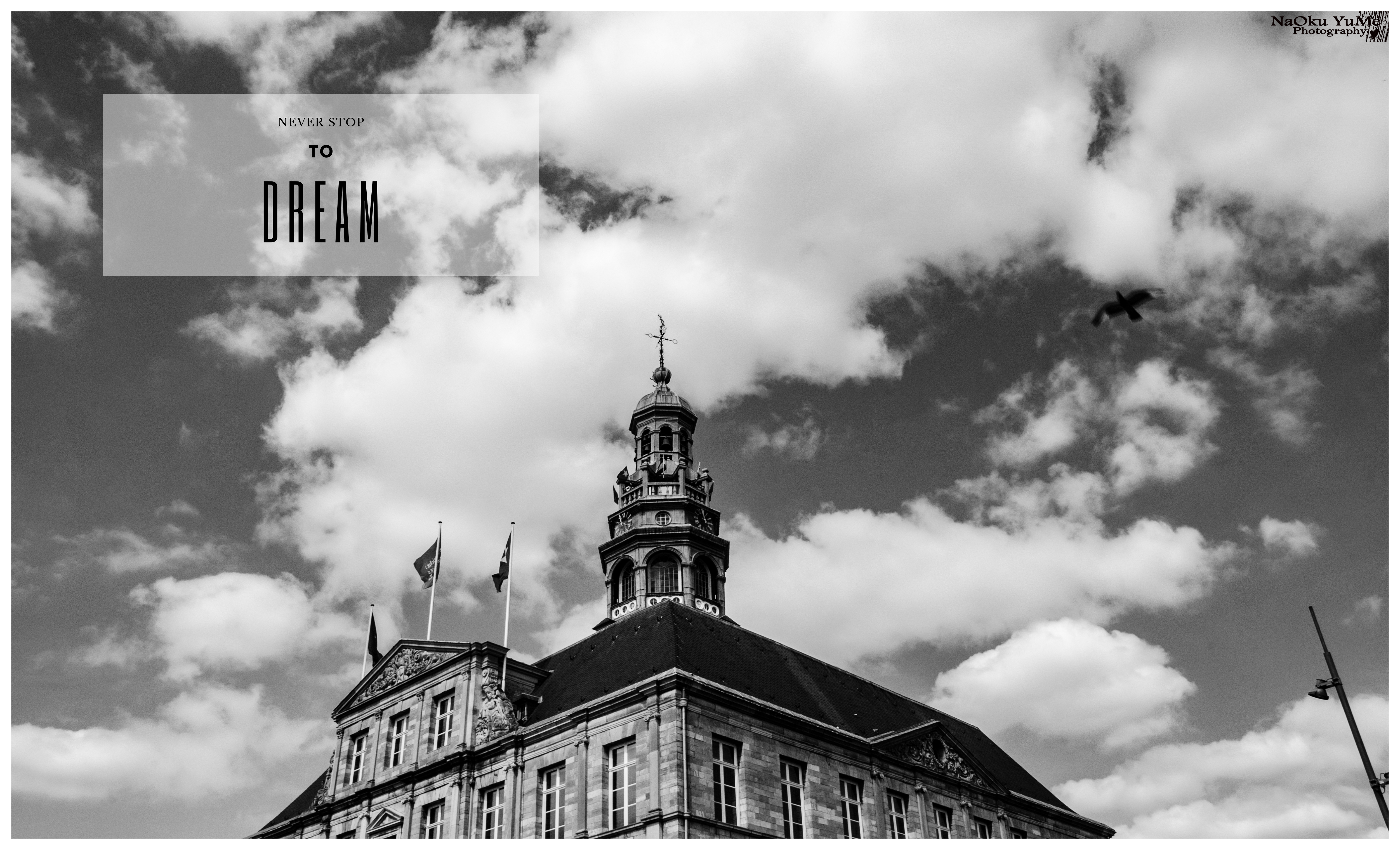 A black and white photo with a building and a sky